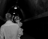 dad and baby daughter, Fernleigh Tunnel, black and white photography